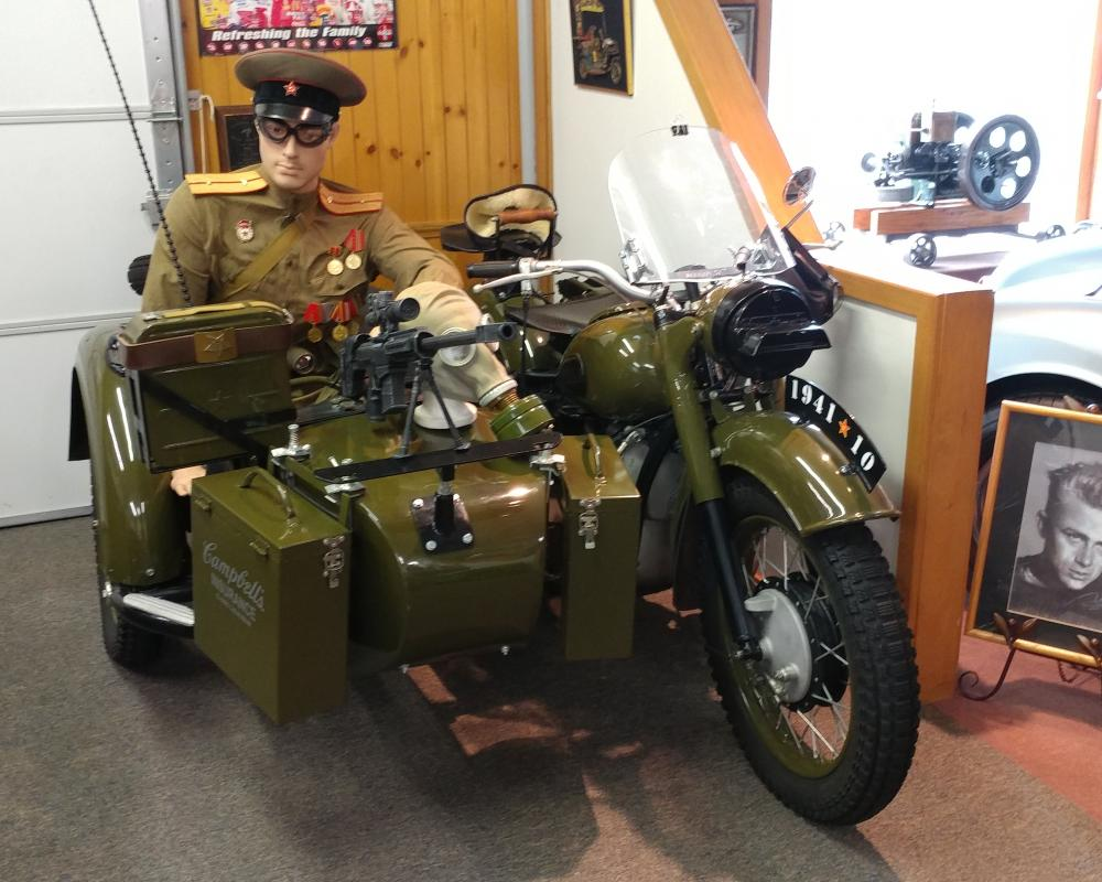 1941 Russian Dnepr Motorcycle with Sidecar and Machine Gun